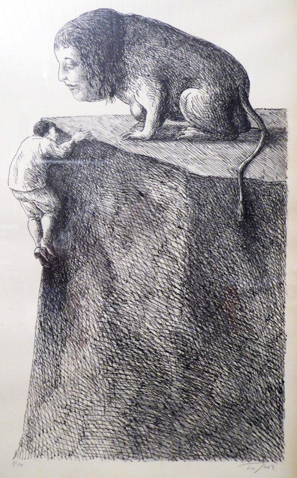 Roland Topor - Vrouwenfiguur op rots